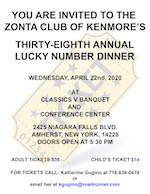 Invitation Kenmore's 38th Lucky Number Dinner on April 22, 2020