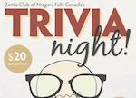 ZC of Niagara Falls, ON Trivia Night on Mar 7th
